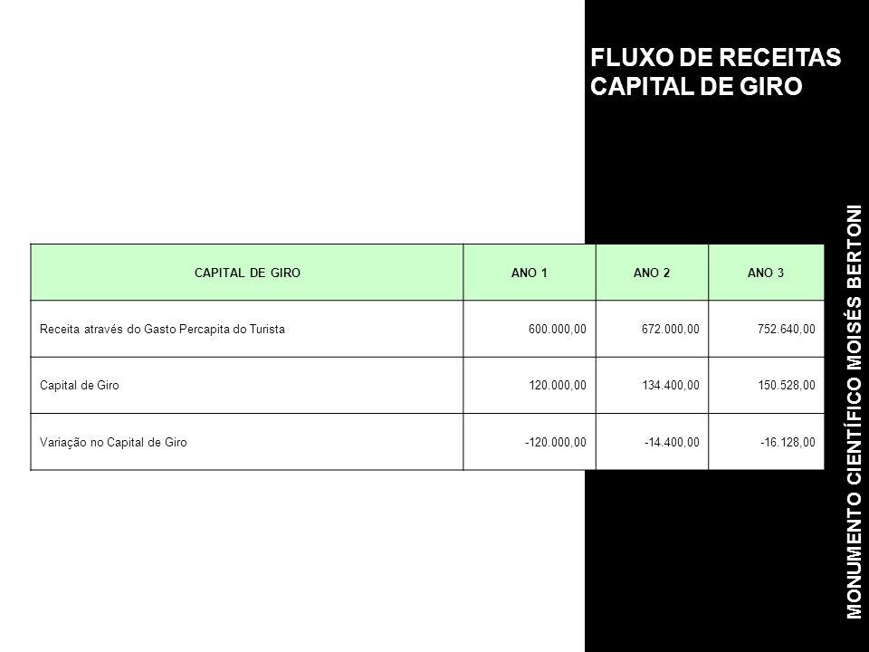 FLUXO DE RECEITAS CAPITAL DE GIRO CAPITAL DE GIROANO 1ANO 2ANO 3 Receita através do Gasto Percapita do Turista600.000,00672.000,00752.640,00 Capital de Giro120.000,00134.400,00150.528,00 Variação no Capital de Giro-120.000,00-14.400,00-16.128,00 MONUMENTO CIENTÍFICO MOISÉS BERTONI