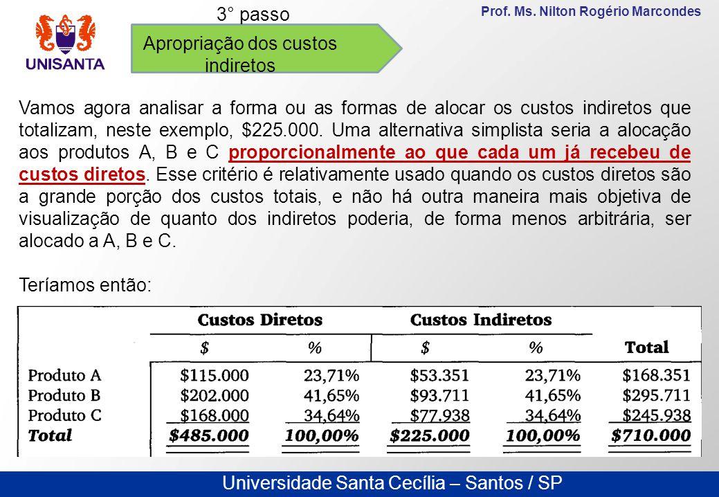 Universidade Santa Cecília – Santos / SP Prof. Ms. Nilton Rogério Marcondes Apropriação dos custos indiretos 3° passo Vamos agora analisar a forma ou