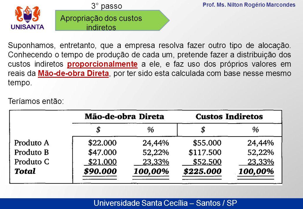 Universidade Santa Cecília – Santos / SP Prof. Ms. Nilton Rogério Marcondes Apropriação dos custos indiretos 3° passo Suponhamos, entretanto, que a em