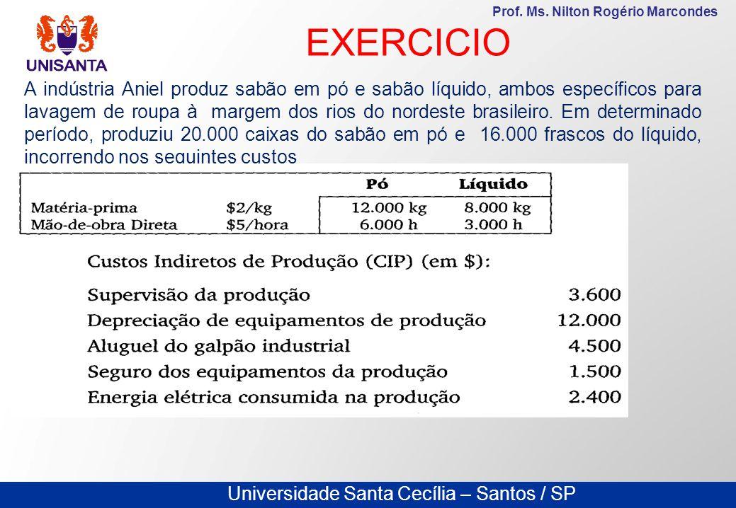 Universidade Santa Cecília – Santos / SP Prof. Ms. Nilton Rogério Marcondes A indústria Aniel produz sabão em pó e sabão líquido, ambos específicos pa