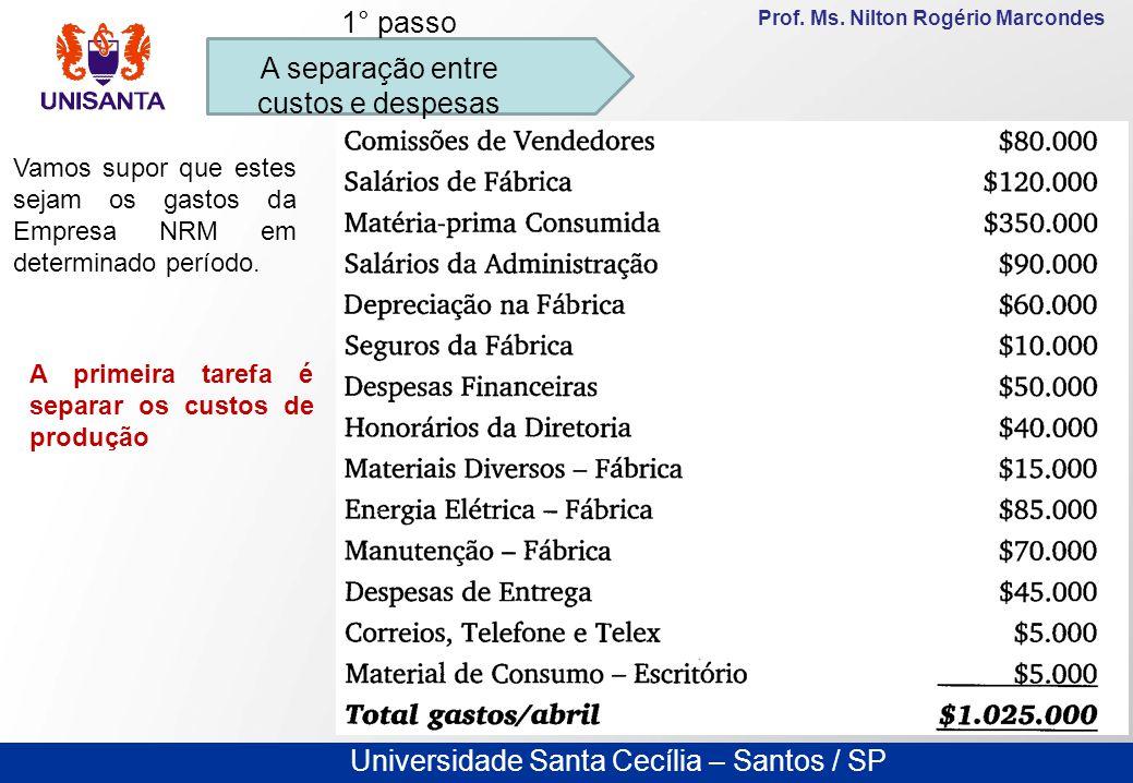 Universidade Santa Cecília – Santos / SP Prof. Ms. Nilton Rogério Marcondes A separação entre custos e despesas 1° passo Vamos supor que estes sejam o