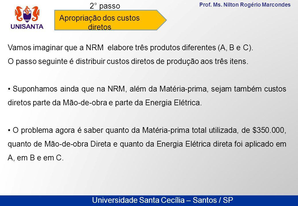 Universidade Santa Cecília – Santos / SP Prof. Ms. Nilton Rogério Marcondes Apropriação dos custos diretos 2° passo Vamos imaginar que a NRM elabore t