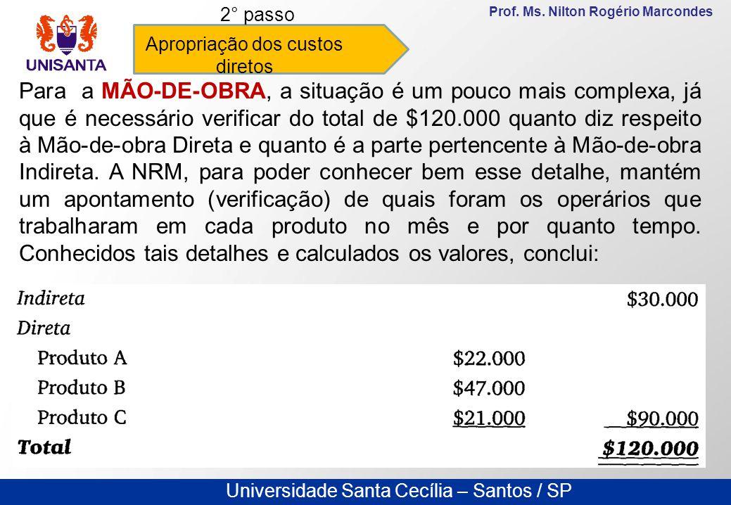 Universidade Santa Cecília – Santos / SP Prof. Ms. Nilton Rogério Marcondes Apropriação dos custos diretos 2° passo Para a MÃO-DE-OBRA, a situação é u
