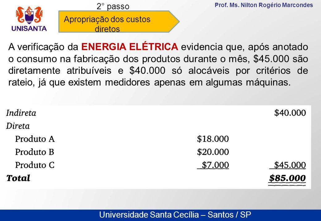 Universidade Santa Cecília – Santos / SP Prof. Ms. Nilton Rogério Marcondes Apropriação dos custos diretos 2° passo A verificação da ENERGIA ELÉTRICA