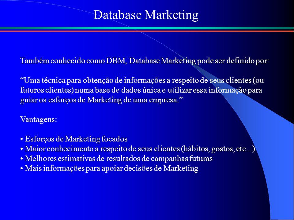 """Database Marketing Também conhecido como DBM, Database Marketing pode ser definido por: """"Uma técnica para obtenção de informações a respeito de seus c"""