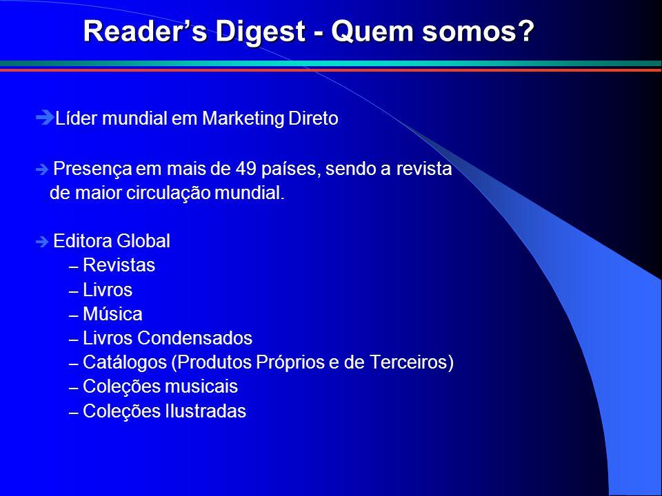 Reader's Digest - Quem somos? è Líder mundial em Marketing Direto è Presença em mais de 49 países, sendo a revista de maior circulação mundial. è Edit