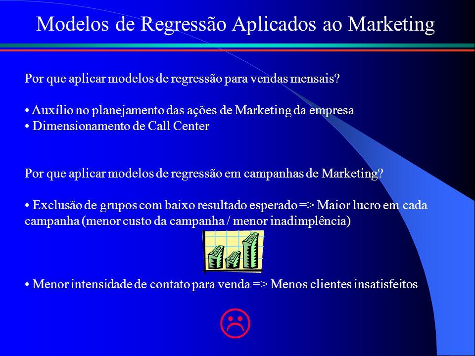 Modelos de Regressão Aplicados ao Marketing Por que aplicar modelos de regressão para vendas mensais? Auxílio no planejamento das ações de Marketing d