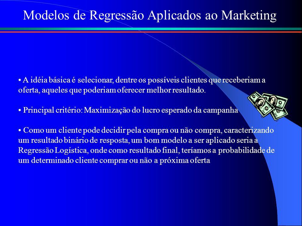Modelos de Regressão Aplicados ao Marketing A idéia básica é selecionar, dentre os possíveis clientes que receberiam a oferta, aqueles que poderiam oferecer melhor resultado.