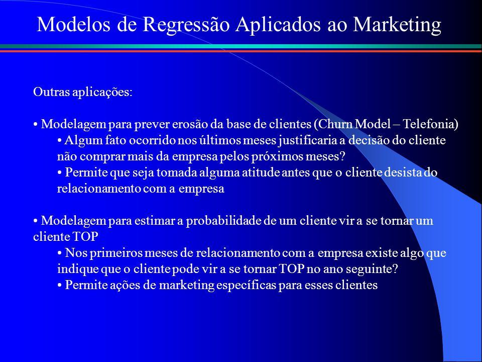 Modelos de Regressão Aplicados ao Marketing Outras aplicações: Modelagem para prever erosão da base de clientes (Churn Model – Telefonia) Algum fato o