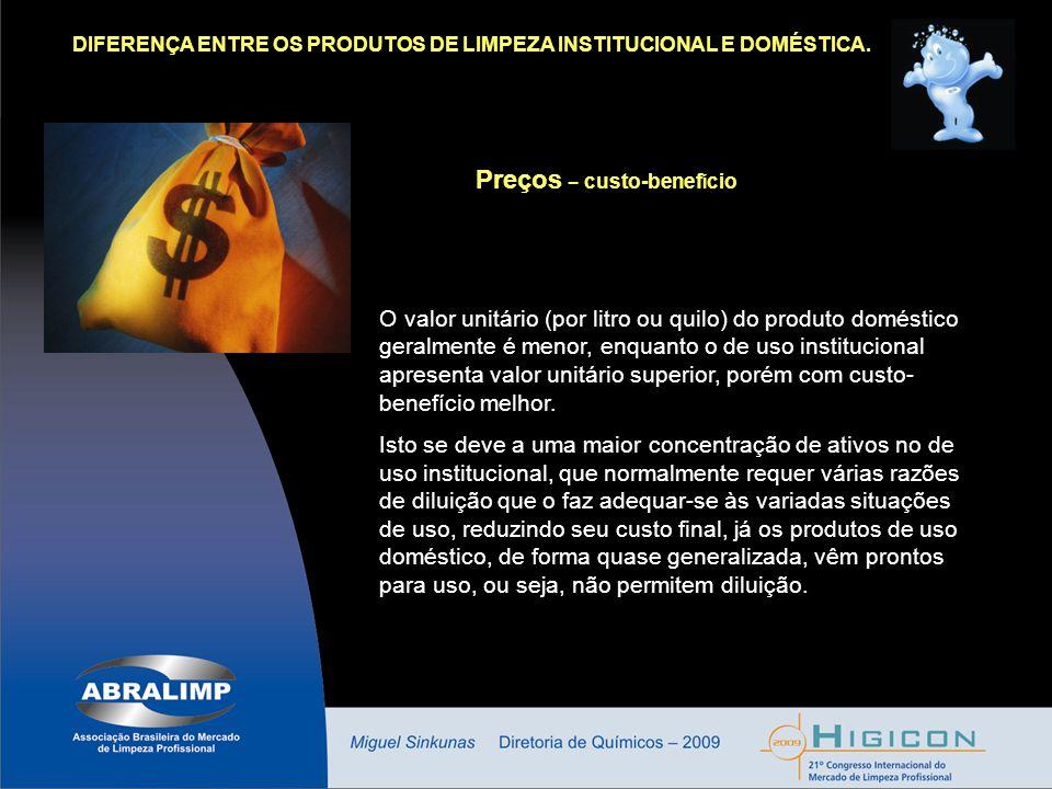 DIFERENÇA ENTRE OS PRODUTOS DE LIMPEZA INSTITUCIONAL E DOMÉSTICA. Preços – custo-benef í cio O valor unitário (por litro ou quilo) do produto doméstic
