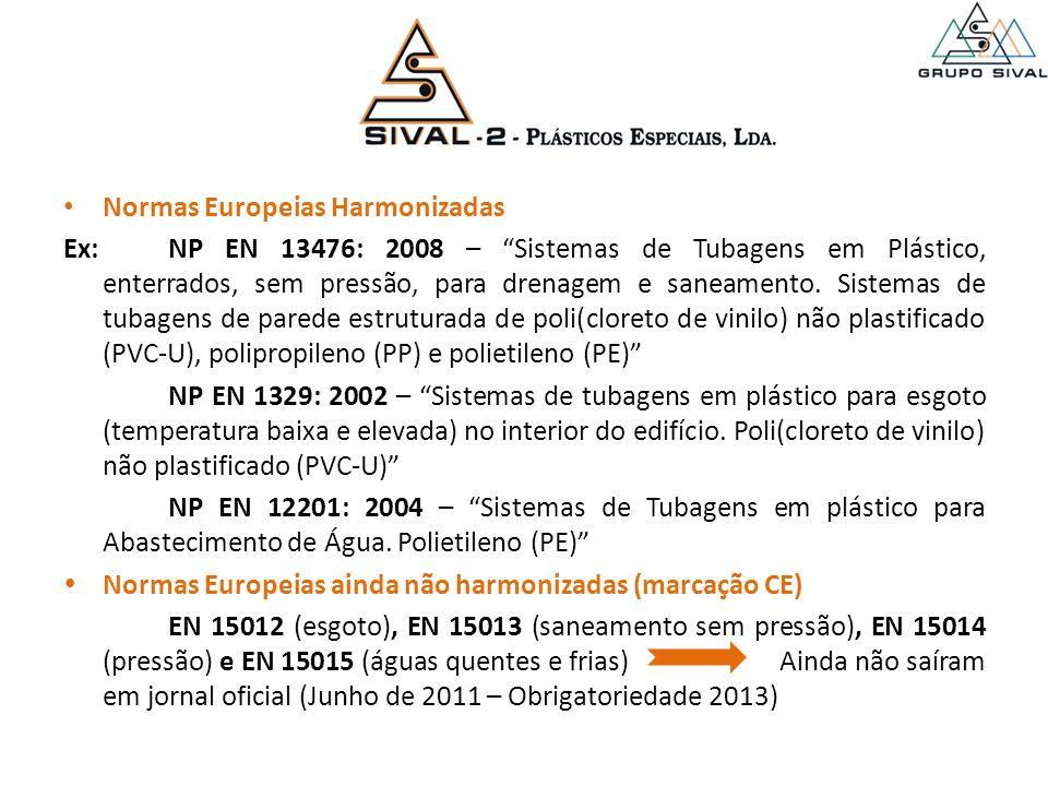 Normas Europeias Harmonizadas Ex:NP EN 13476: 2008 – Sistemas de Tubagens em Plástico, enterrados, sem pressão, para drenagem e saneamento.