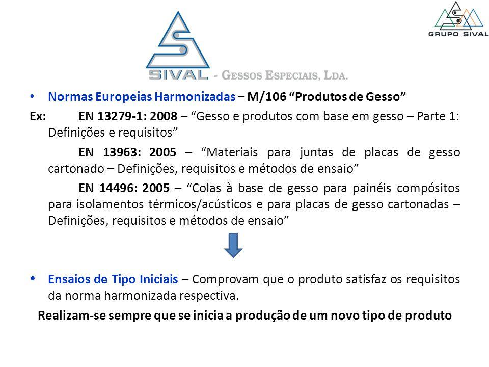 Normas Europeias Harmonizadas – M/106 Produtos de Gesso Ex:EN 13279-1: 2008 – Gesso e produtos com base em gesso – Parte 1: Definições e requisitos EN 13963: 2005 – Materiais para juntas de placas de gesso cartonado – Definições, requisitos e métodos de ensaio EN 14496: 2005 – Colas à base de gesso para painéis compósitos para isolamentos térmicos/acústicos e para placas de gesso cartonadas – Definições, requisitos e métodos de ensaio  Ensaios de Tipo Iniciais – Comprovam que o produto satisfaz os requisitos da norma harmonizada respectiva.