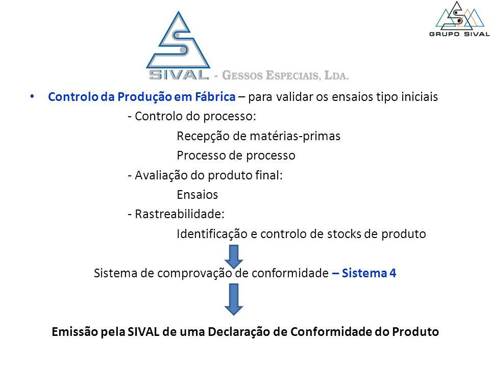 Controlo da Produção em Fábrica – para validar os ensaios tipo iniciais - Controlo do processo: Recepção de matérias-primas Processo de processo - Ava