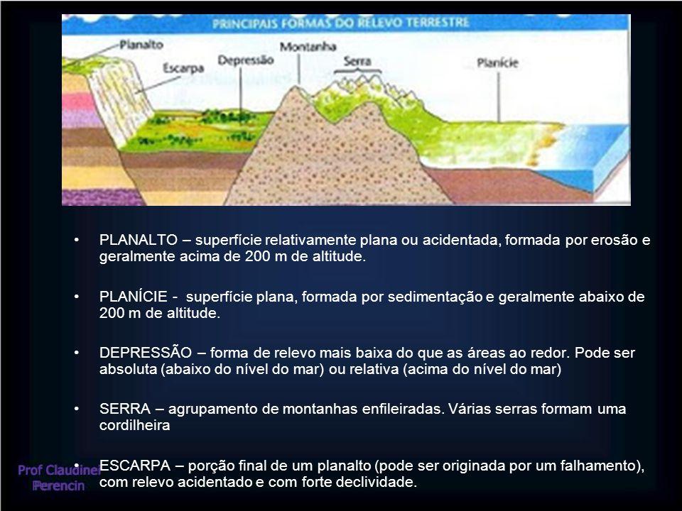 PLANALTO – superfície relativamente plana ou acidentada, formada por erosão e geralmente acima de 200 m de altitude. PLANÍCIE - superfície plana, form
