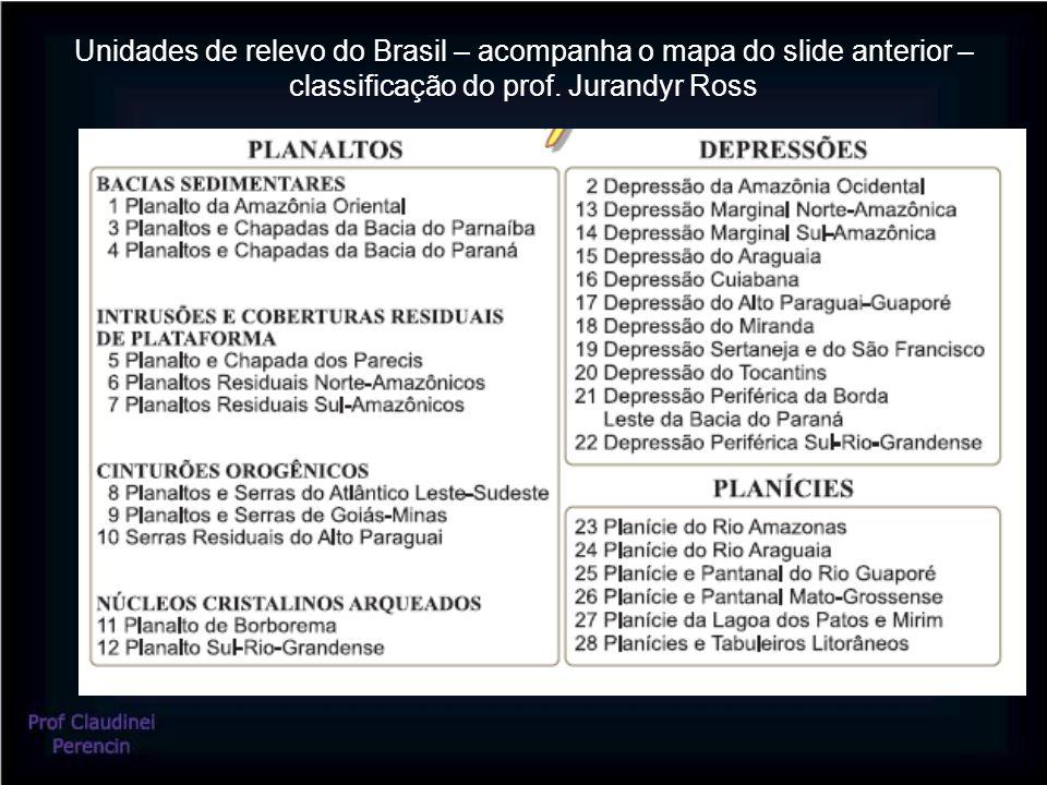 Unidades de relevo do Brasil – acompanha o mapa do slide anterior – classificação do prof. Jurandyr Ross