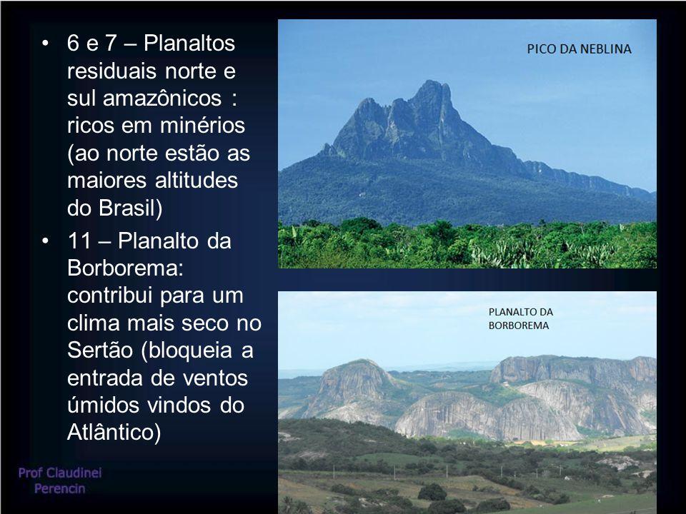 6 e 7 – Planaltos residuais norte e sul amazônicos : ricos em minérios (ao norte estão as maiores altitudes do Brasil) 11 – Planalto da Borborema: contribui para um clima mais seco no Sertão (bloqueia a entrada de ventos úmidos vindos do Atlântico)