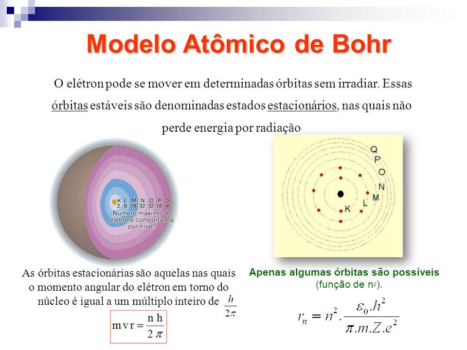 O elétron pode se mover em determinadas órbitas sem irradiar. Essas órbitas estáveis são denominadas estados estacionários, nas quais não perde energi
