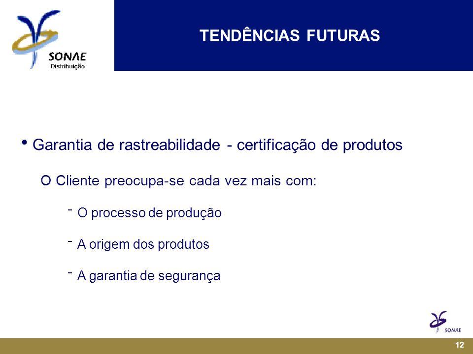 12  Garantia de rastreabilidade - certificação de produtos O Cliente preocupa-se cada vez mais com:  O processo de produção  A origem dos produtos  A garantia de segurança TENDÊNCIAS FUTURAS