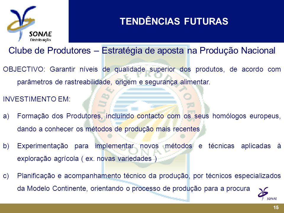15 Clube de Produtores – Estratégia de aposta na Produção Nacional OBJECTIVO: Garantir níveis de qualidade superior dos produtos, de acordo com parâmetros de rastreabilidade, origem e segurança alimentar.