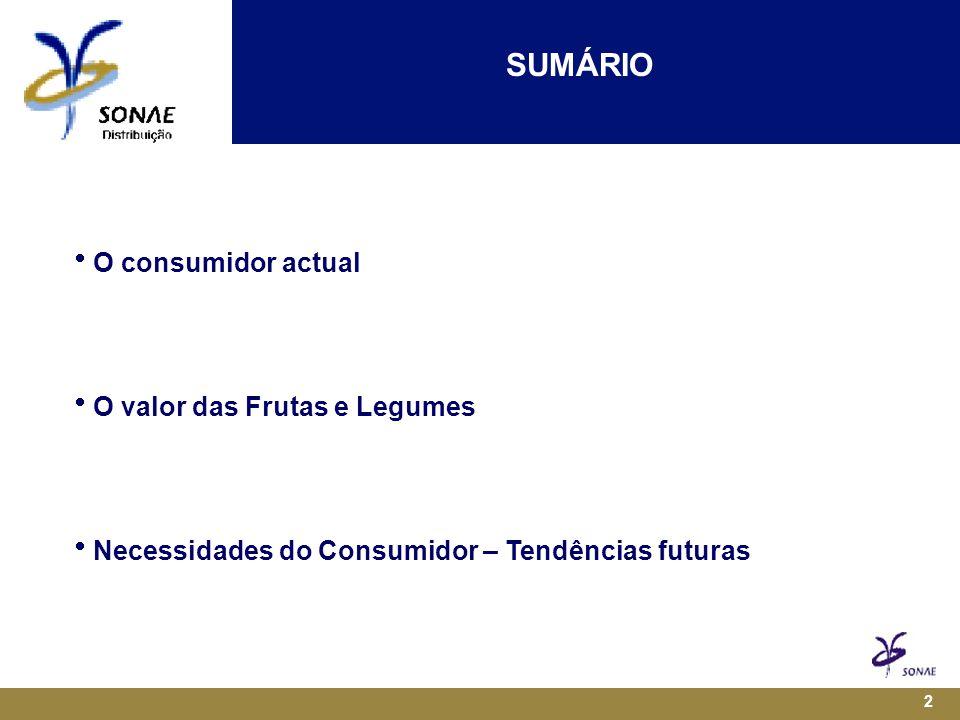 2 SUMÁRIO  O consumidor actual  O valor das Frutas e Legumes  Necessidades do Consumidor – Tendências futuras