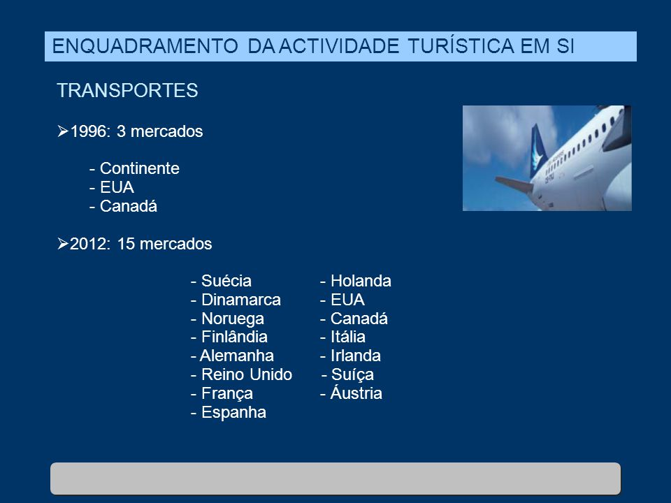 TRANSPORTES  1996: 3 mercados - Continente - EUA - Canadá  2012: 15 mercados - Suécia- Holanda - Dinamarca- EUA - Noruega- Canadá - Finlândia- Itáli