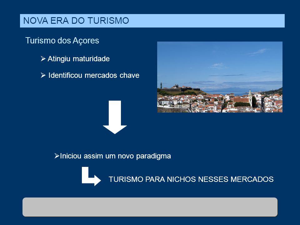 NOVA ERA DO TURISMO Turismo dos Açores  Atingiu maturidade  Identificou mercados chave  Iniciou assim um novo paradigma TURISMO PARA NICHOS NESSES