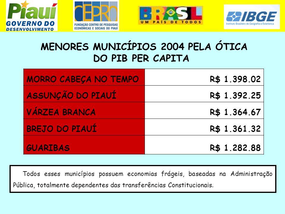 MENORES MUNICÍPIOS 2004 PELA ÓTICA DO PIB PER CAPITA Todos esses municípios possuem economias frágeis, baseadas na Administração Pública, totalmente d