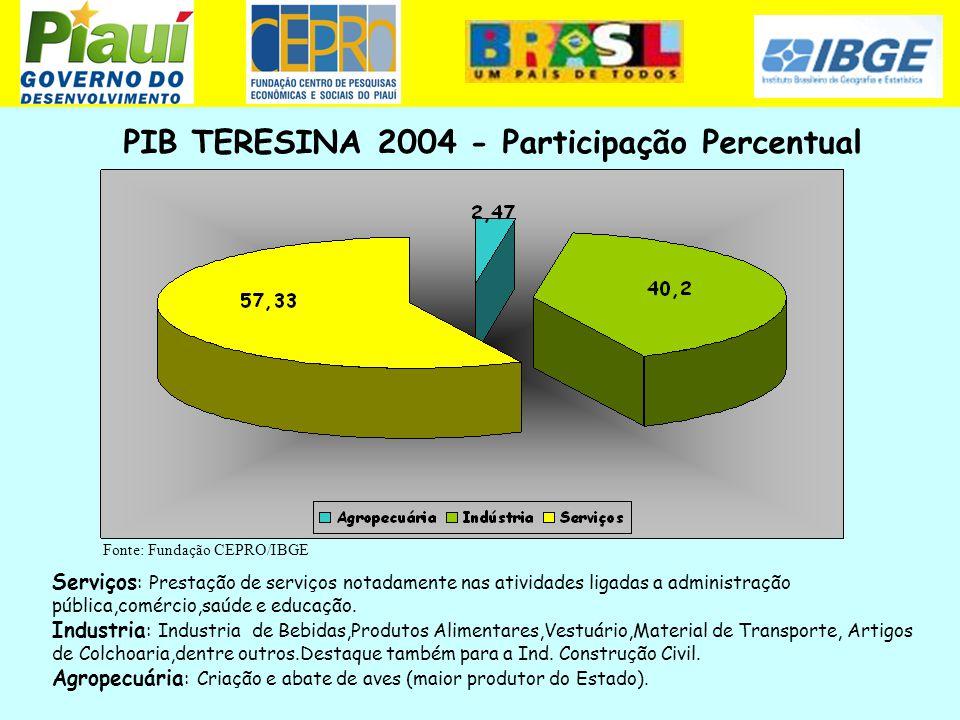 Fonte: Fundação CEPRO e IBGE PIB TERESINA 2004 - Participação Percentual Fonte: Fundação CEPRO/IBGE Serviços : Prestação de serviços notadamente nas a