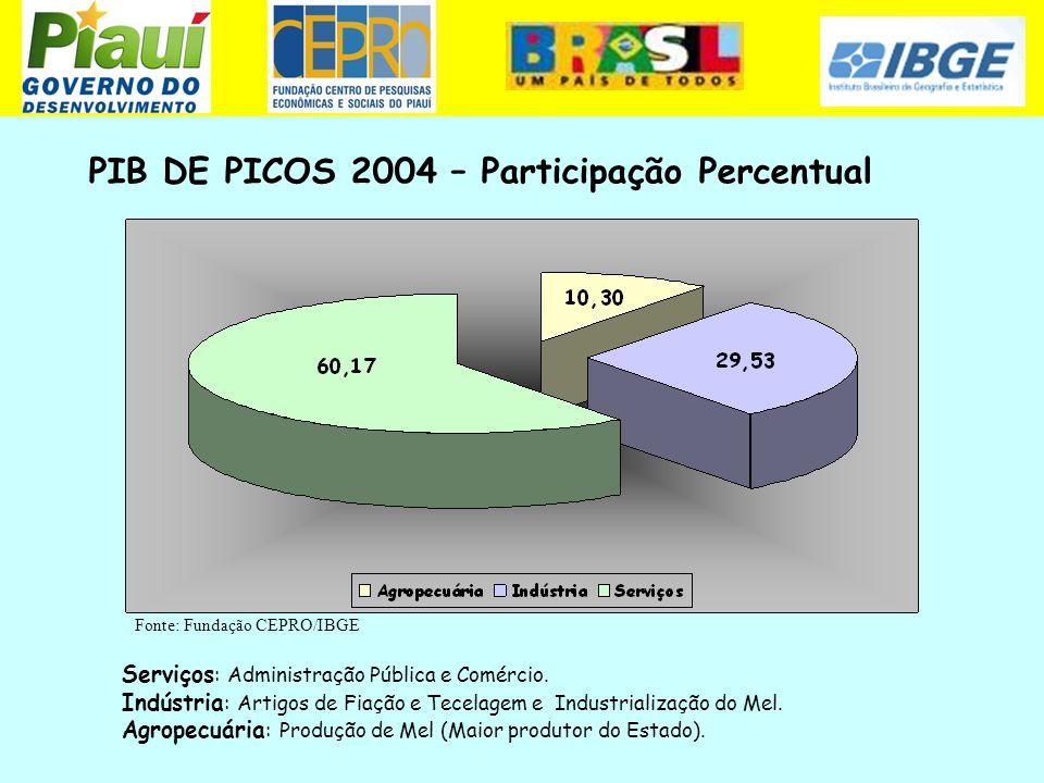 PIB DE PICOS 2004 – Participação Percentual Serviços : Administração Pública e Comércio. Indústria : Artigos de Fiação e Tecelagem e Industrialização