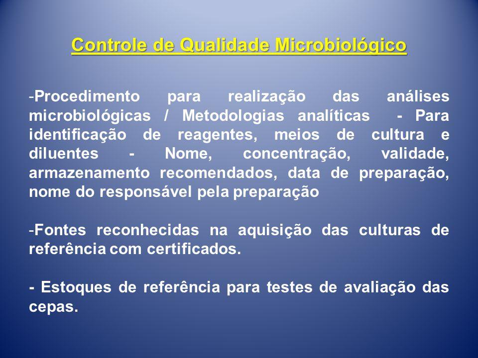 -Procedimento para realização das análises microbiológicas / Metodologias analíticas - Para identificação de reagentes, meios de cultura e diluentes -