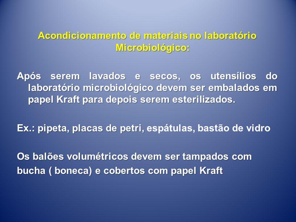 Acondicionamento de materiais no laboratório Microbiológico: Após serem lavados e secos, os utensílios do laboratório microbiológico devem ser embalad