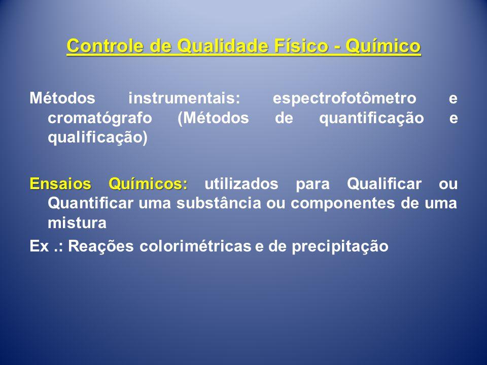 Controle de Qualidade Físico - Químico Métodos instrumentais: espectrofotômetro e cromatógrafo (Métodos de quantificação e qualificação) Ensaios Quími