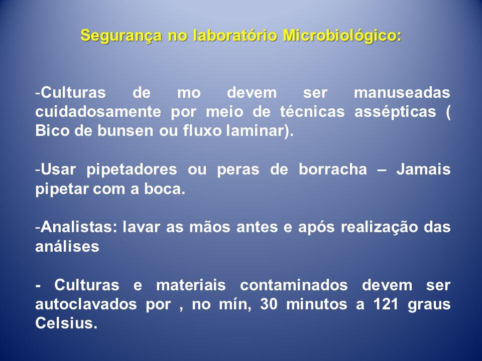 Segurança no laboratório Microbiológico: -Culturas de mo devem ser manuseadas cuidadosamente por meio de técnicas assépticas ( Bico de bunsen ou fluxo