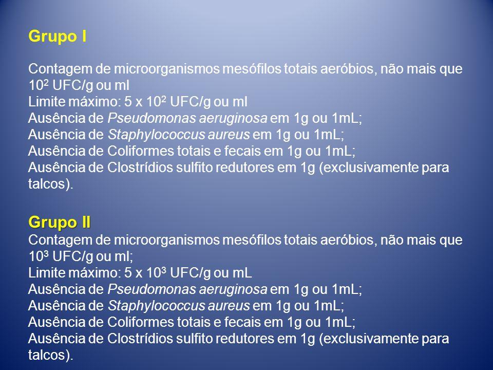 Grupo I Contagem de microorganismos mesófilos totais aeróbios, não mais que 10 2 UFC/g ou ml Limite máximo: 5 x 10 2 UFC/g ou ml Ausência de Pseudomon