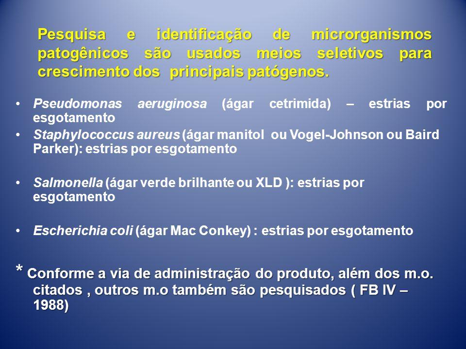 Pseudomonas aeruginosa (ágar cetrimida) – estrias por esgotamento Staphylococcus aureus (ágar manitol ou Vogel-Johnson ou Baird Parker): estrias por e