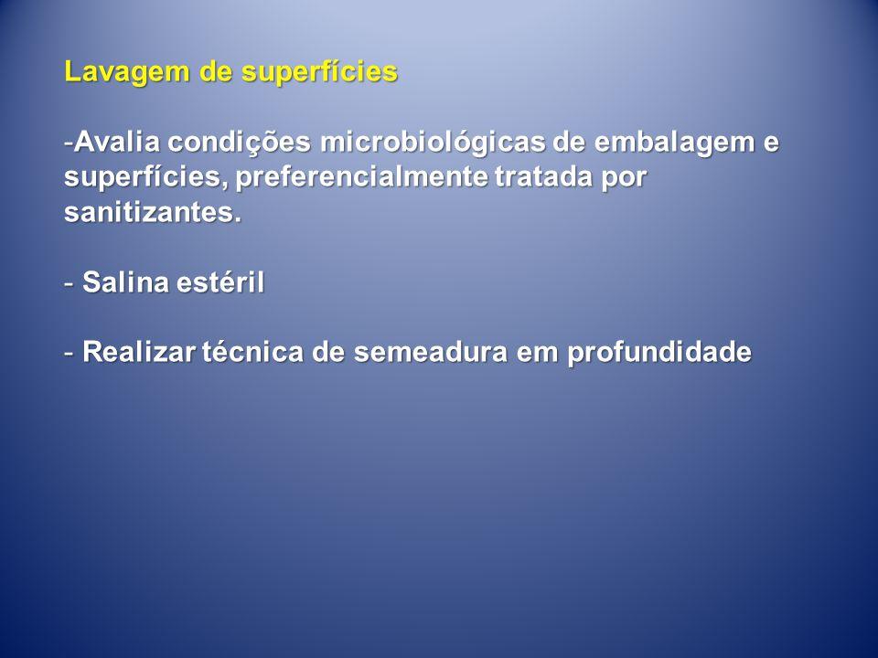 Lavagem de superfícies -Avalia condições microbiológicas de embalagem e superfícies, preferencialmente tratada por sanitizantes. - Salina estéril - Re