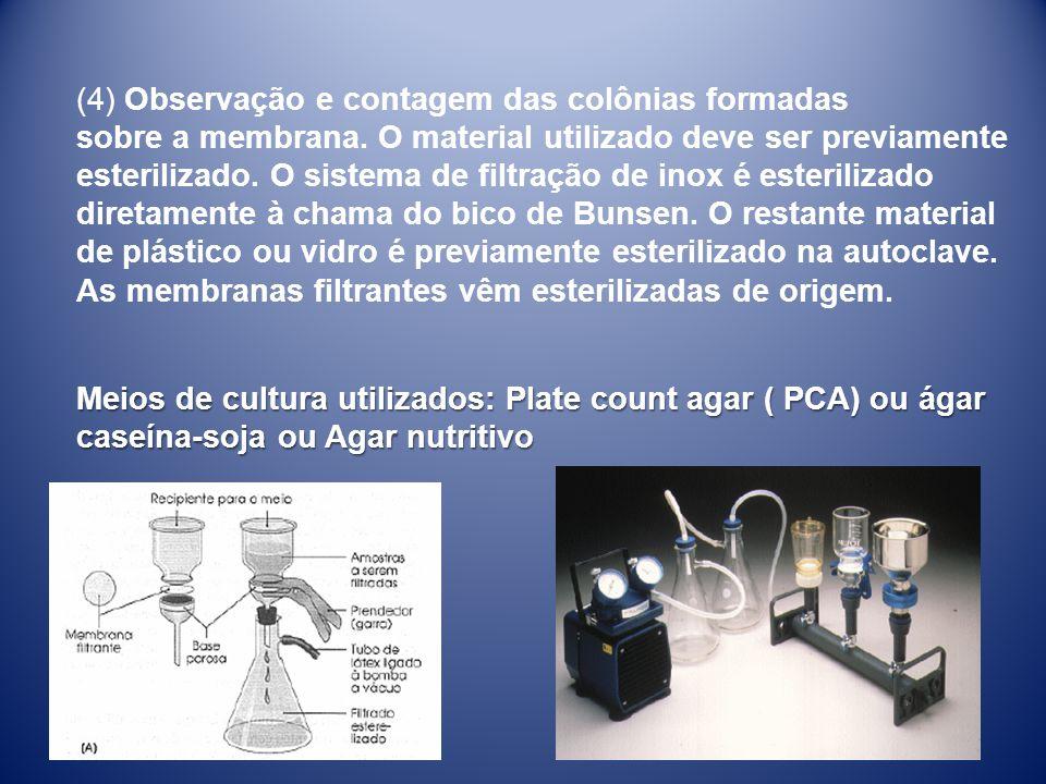 (4) Observação e contagem das colônias formadas sobre a membrana. O material utilizado deve ser previamente esterilizado. O sistema de filtração de in