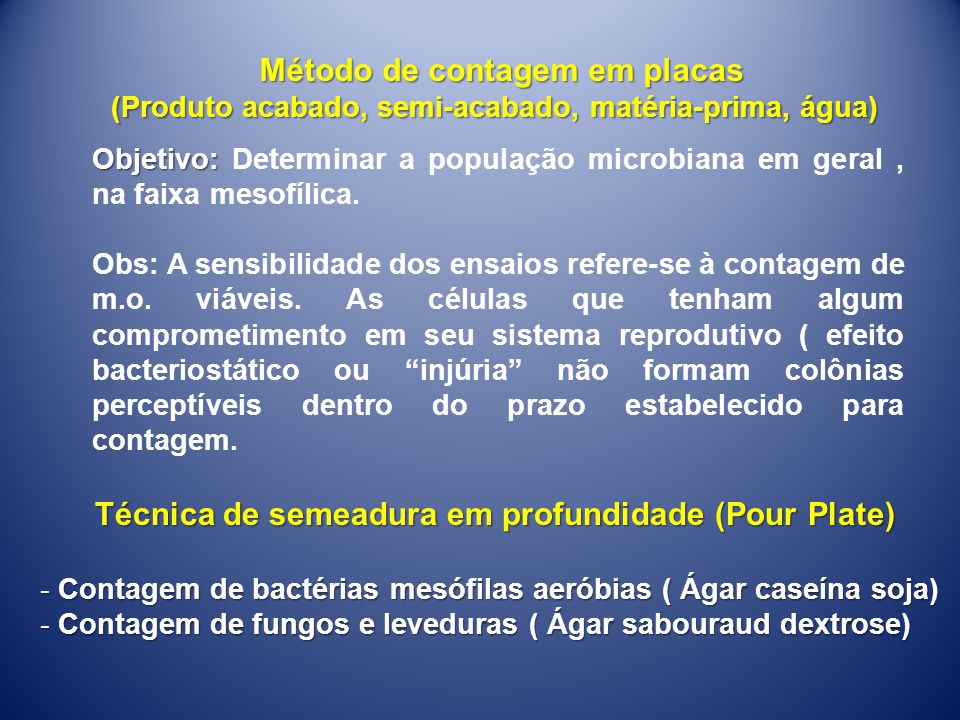 Método de contagem em placas (Produto acabado, semi-acabado, matéria-prima, água) Objetivo: Objetivo: Determinar a população microbiana em geral, na f