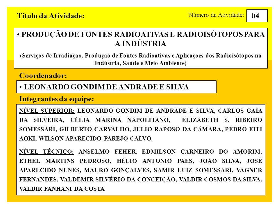 Título da Atividade: PRODUÇÃO DE FONTES RADIOATIVAS E RADIOISÓTOPOS PARA A INDÚSTRIA (Serviços de Irradiação, Produção de Fontes Radioativas e Aplicações dos Radioisótopos na Indústria, Saúde e Meio Ambiente) 04 Perfil da equipe: Número da Atividade: número de doutores: 01 número de mestres: 04 número de nível superior especialistas: 02 número de nível superior: 01 número de técnicos de nível médio: 12 número de bolsistas de iniciação científica: 01