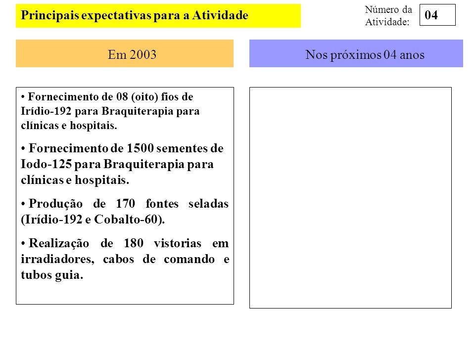 Principais expectativas para a Atividade Em 2003Nos próximos 04 anos Fornecimento de 08 (oito) fios de Irídio-192 para Braquiterapia para clínicas e h