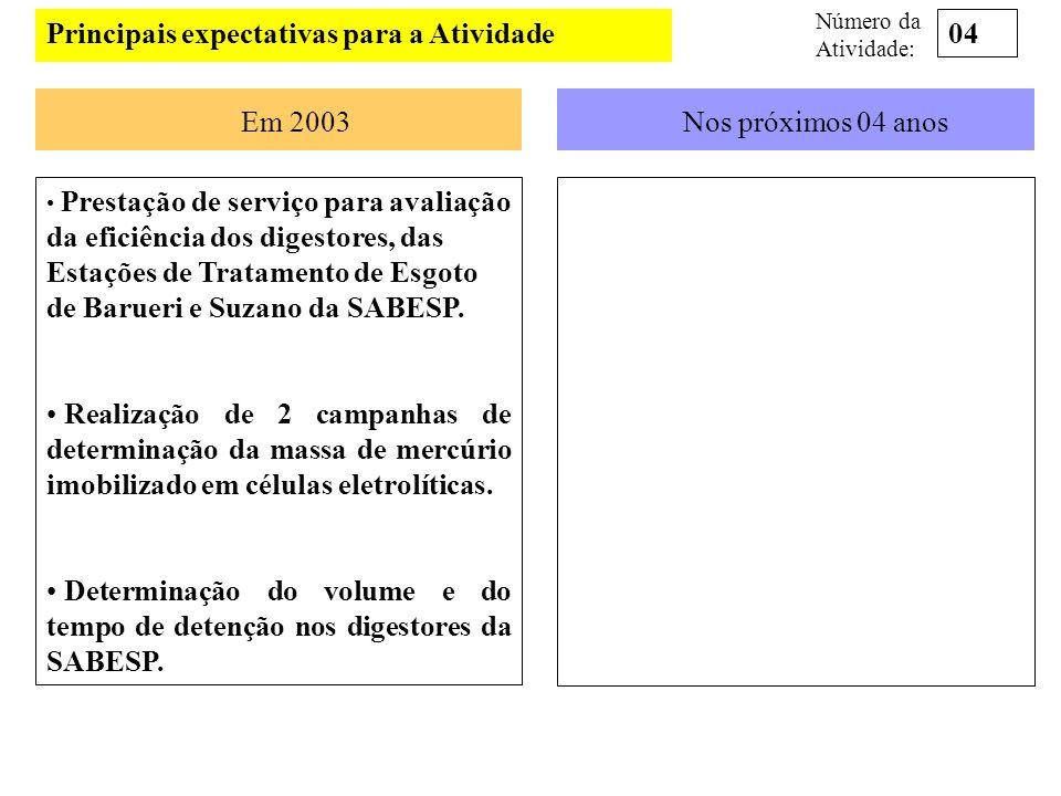 Principais expectativas para a Atividade Em 2003Nos próximos 04 anos Prestação de serviço para avaliação da eficiência dos digestores, das Estações de