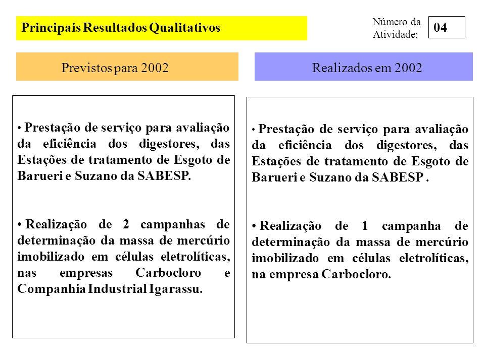 Principais Clientes e Parceiros (realizados) em 2002 Clientes COFIBAM, PIRELLI, ARGENTUM, ALSTON, ARCTEST, BRASITEST, CBC, CSN, ENGISA, MKS, QUALITEC, UNITEC, VOITH, CETESP, AMBITERRA, WFF CONSULTORIA, UNIDADES DA SABESP (REGIÃO METROPOLITANA E INTERIOR) CARBOCLORO, COMPANHIA AGRO INDUSTRIAL IGARASSU, SOLVAU, PANAMERICANA S/A, COMPANHIA QUÍMICA DO RECÔNCAVO, TRANSPETRO, PQU, NITROQUÍMICA, VERACEL, HOSPITAL SÍRIO-LIBÂNES, HOSPITAL ALBERT ENSTEIN E HOSPITAL A.