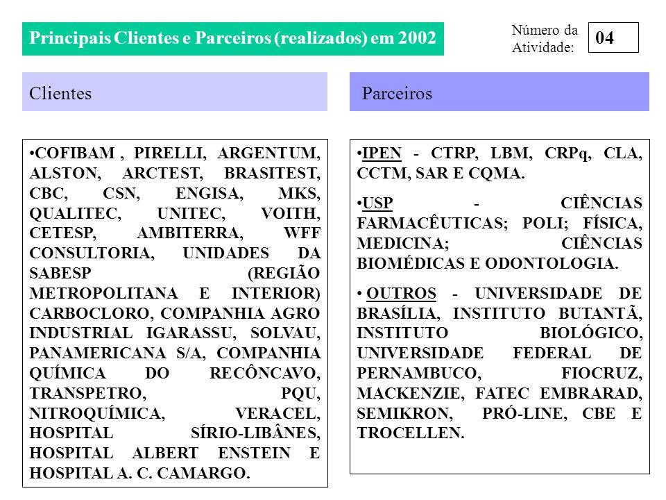 Principais Clientes e Parceiros (realizados) em 2002 Clientes COFIBAM, PIRELLI, ARGENTUM, ALSTON, ARCTEST, BRASITEST, CBC, CSN, ENGISA, MKS, QUALITEC,