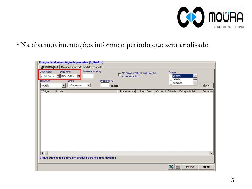 Estoque Atual: Será definido de acordo com todas as movimentações de entrada, saída e contagem de estoque.