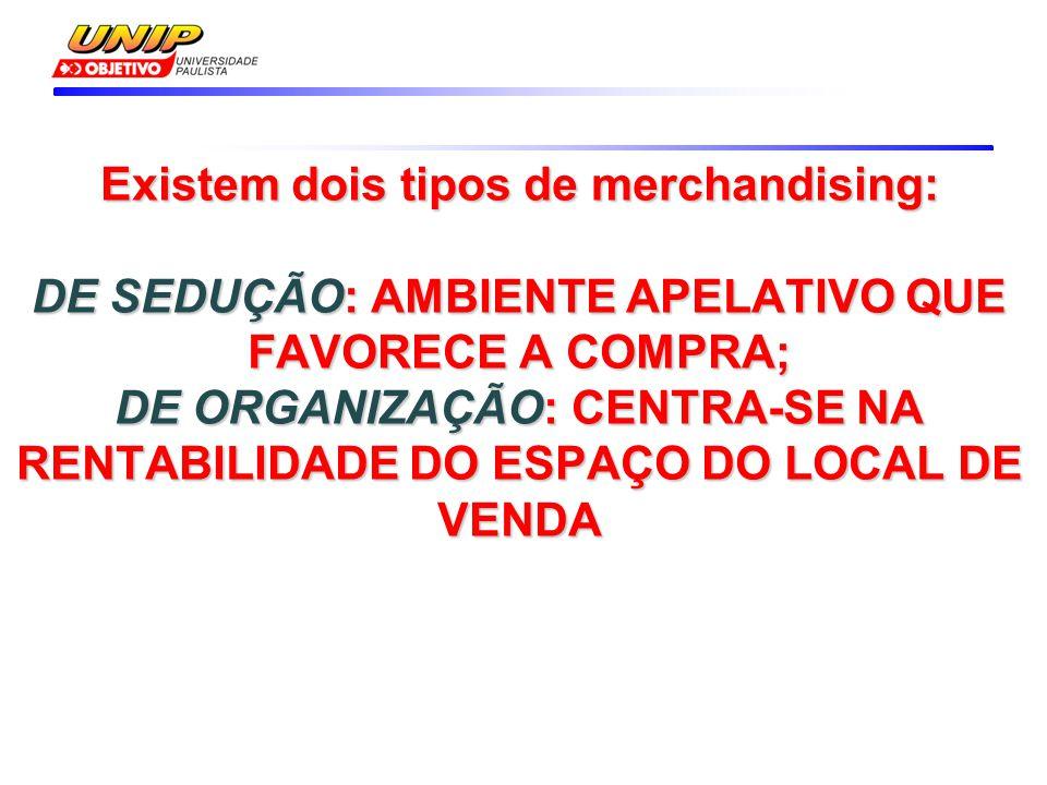 Existem dois tipos de merchandising: DE SEDUÇÃO: AMBIENTE APELATIVO QUE FAVORECE A COMPRA; DE ORGANIZAÇÃO: CENTRA-SE NA RENTABILIDADE DO ESPAÇO DO LOC