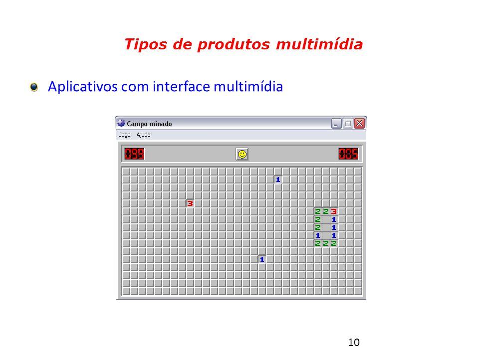 10 Tipos de produtos multimídia Aplicativos com interface multimídia