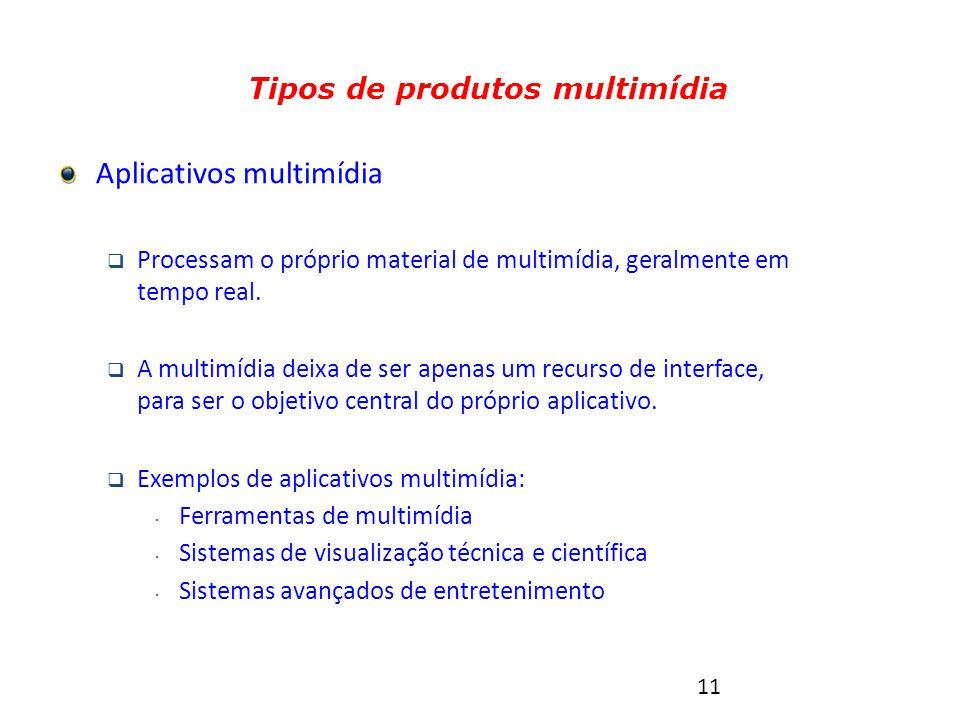11 Tipos de produtos multimídia Aplicativos multimídia  Processam o próprio material de multimídia, geralmente em tempo real.
