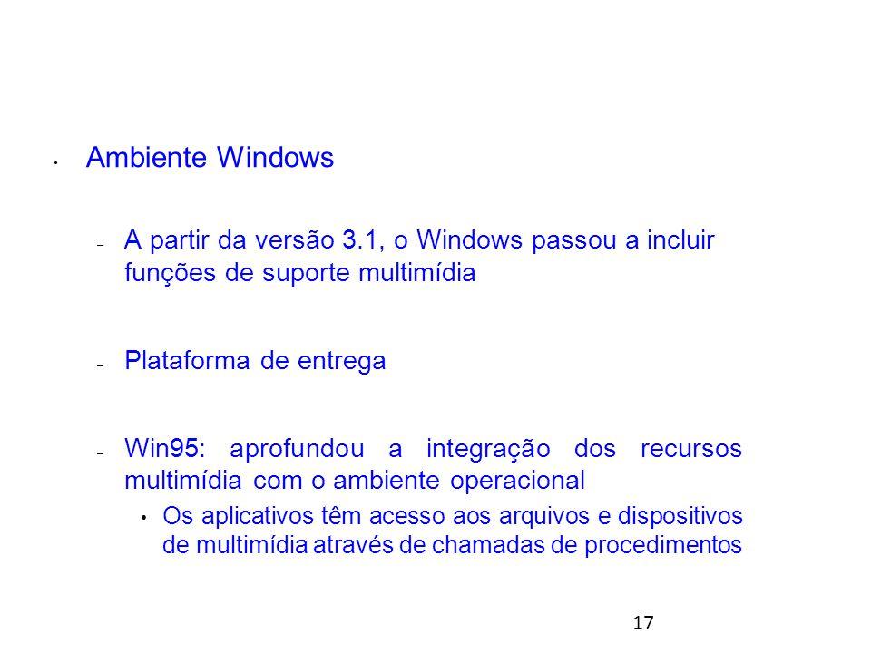 17 Ambiente Windows – A partir da versão 3.1, o Windows passou a incluir funções de suporte multimídia – Plataforma de entrega – Win95: aprofundou a integração dos recursos multimídia com o ambiente operacional Os aplicativos têm acesso aos arquivos e dispositivos de multimídia através de chamadas de procedimentos Ambientes para multimídia