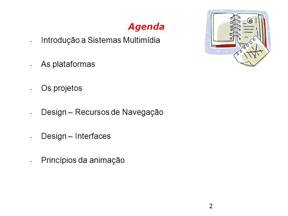 2 Introdução a Sistemas Multimídia As plataformas Os projetos Design – Recursos de Navegação Design – Interfaces Princípios da animação Agenda