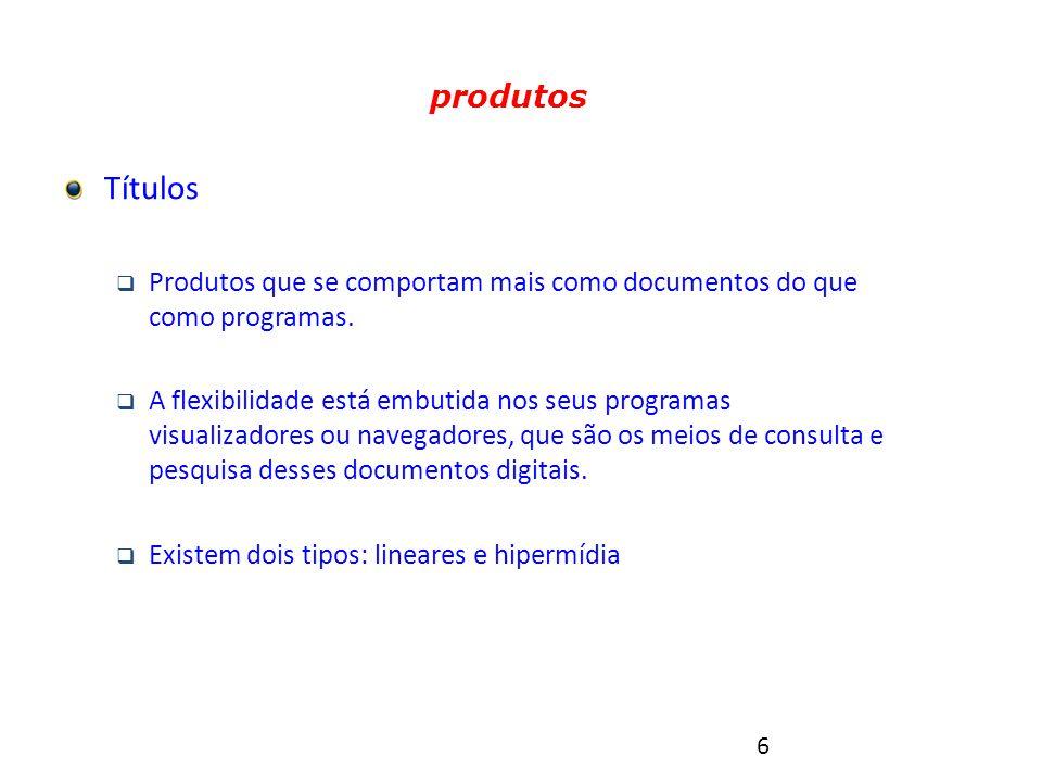 6 Tipos de produtos multimídia Títulos  Produtos que se comportam mais como documentos do que como programas.